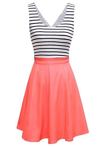 U8Vision Damen V-Ausschnitt Rückenfrei Gestreiftes Strickkleid Rock Kleider Casual Kleider Orange Gr.XXL