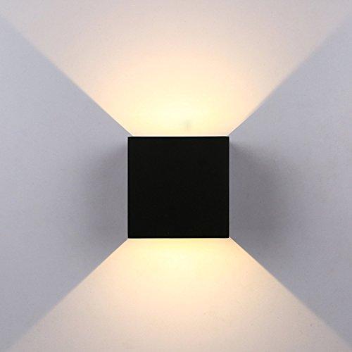 12W Wandleuchte Wandlampe LED, außen-Wandleuchte wasserdicht ip65aus Aluminium mit Licht Winkel verstellbar, 10x 10x 10, warmweiß 2700K, Schwarz