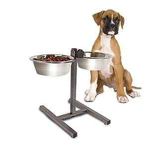 Jardin Mile® Twin double pour chien et chat Gamelles en relief, hauteur réglable en acier inoxydable support de station d'alimentation, bol de nourriture Eau Bol.