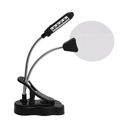 Lampe Loupe Led,2.5x 5x Lampe Loupe De Table De Métal Flexible Avec Clamp Et 4 Leds Pour La...