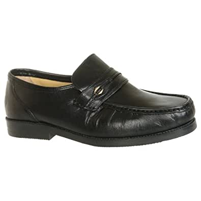 Mens Tycoons Black Leather Extra Wide Fit Moccasin Shoes (8)