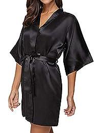 Saingace Women s Satin Nighty Dress Lingerie Night Robe Nightwear Sleepwear ca384e56d
