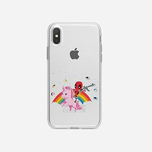 Superhelden Kostüm Individuelle - licaso iPhone 6 6s Handyhülle TPU mit Superhero Riding Unicorn Print Motiv - Transparent Cover Schutz Hülle Superheld Einhorn Pink Aufdruck Druck