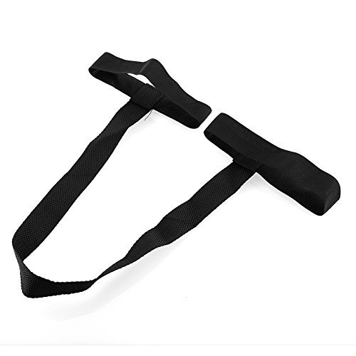Forfar Yoga Pilates Yogamatte Gurtband Looped Sling Harness Trageführer Schwarzer Polyester Armbandhalter Universell lan Lan-harness