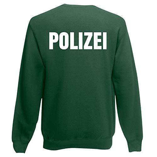 Officer Brust (Shirt-Panda Herren Polizei Sweatshirt - Druck Brust & Rücken Reflex Dunkelgrün (Druck Weiß) S)