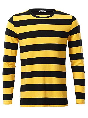 MSBASIC Men's Casual Long Sleeve Cotton Striped Shirt MD8008-2, G&b, XL