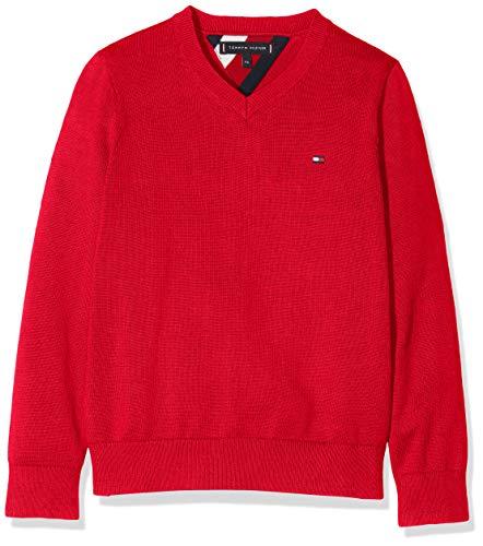 Tommy Hilfiger Jungen Essential V-Neck Sweater Sweatshirt, Rot (Red Xa9), 98 (Herstellergröße:3)