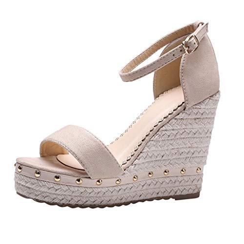 COZOCO Damenmode Open Toe Schuhe Wedges Thick Bottom Straps Schnalle Schuhe Römersandalen(Beige,37 EU)