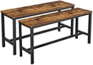 VASAGLE Table Benches, Set of 2, Industrial Style Indoor Benches, 108 x 32.5 x 50 cm, Durable Metal Frame, for