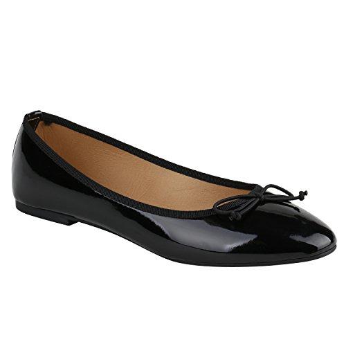 Klassische Damen Ballerinas Lederoptik Basic Freizeit Schuhe Übergrössen Schwarz Black Lack