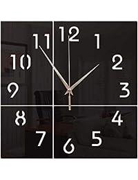 AECDD Creativo Cuadrado Digital Acrílico Espejo Mudo Reloj de Pared Barra de la Sala de Estudio