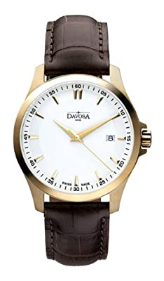 Davosa Men's Classic Analogue Watch 16246715 with White Dial and 40 mm Stainless Steel Plated Case