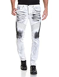 BLZ jeans - Jean homme blanc surteint noir effet froissé