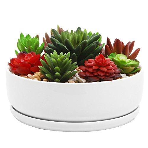 MyGift 20,3 cm Moderne Blanc en Céramique Rond Pot de Fleurs artificielles Pot avec Soucoupe Amovible