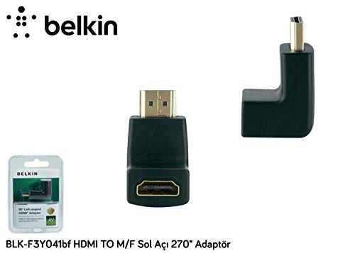 Belkin Cavo Adattatore HDMI M/F, 90°, Sx, Connettori Dorati, Nero