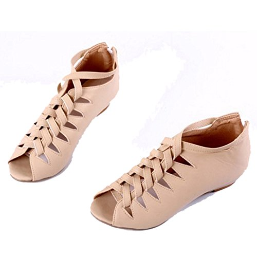 TAOFFEN Femmes Bottillons Sandales Gladiateur Peep Toe Fermeture Eclair Talons Bas Chaussures Abricot