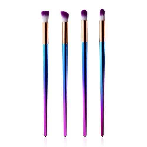 Pinceaux de Maquillage Professionnel Toamen 4 Pièces Poudre Le fard à paupières Outil de pinceau Eyeliner Brosse Coloré