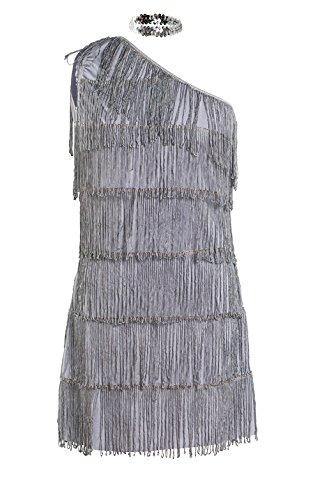 Schickes 20er Flapper Kostüm von Emma's Wardrobe – Enthält grau Fransenkleid, Haarband und weiße Federboa – Flapper Kostüm für Halloween und Auftritte – Hohe Qualität – Größen 36-44 (38)