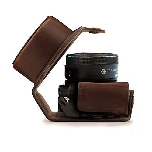 MegaGear Leder Kameratasche für Nikon 1 J5 mit 10-30mm Kompakte Systemkamera (Dunkelbraun)