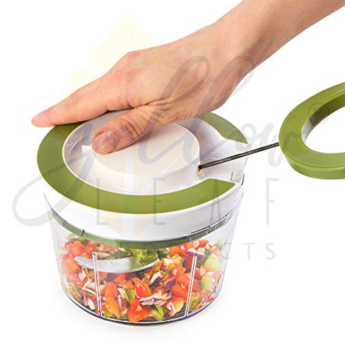 Yellow Leaf Products Jumbo 850 ml Vegetable Fruit Nut Onion Chopper, Hand Meat Grinder Mixer Food Processor Slicer Shredder Salad Maker Vegetable Tools (Parrot Green, 1)