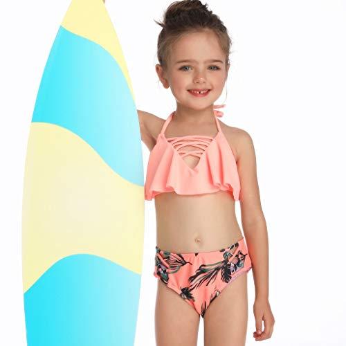 MOIKA Mutter Tochter Badeanzug Eltern-Kind-Badeanzug Sling mit Ruffles Hohlriemen Geknotete Schlinge Hohe Taille Bikini Set Familie Bademode Kleidung Baby Badebekleidung Bikinis mädchen