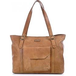 Masquenada - Bolso al hombro de cuero para mujer marrón marrón