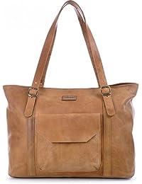Ledertasche für Damen, MASQUENADA, Cntmp, Damen Schultertasche Leder, Leder-Shopper, XL-Handtasche DIN-A4 Naturleder Leder 40x31x12cm (B x H x T)