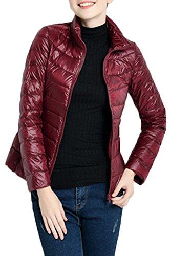 Mochoose Doudoune Ultra Légère Veste Manteau Parka Blouson Zippée Manches Longues Hiver pour Femme Vin Rouge