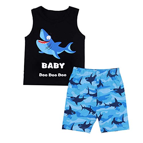 Lookhy Ärmelloses Kinder Cartoon Shark Letter Print Tanktop + Shorts Set Baby-Jungen Bekleidungsset Set Jungle Uni Puffprint Shark Short Set