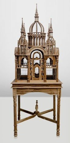 Casa Padrino Baroque palace Bird hand carved from mahogany H190cm - aviary bird cage antique style