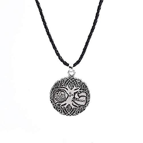 Mode-Halskette,KEATTL Heißer verkauf Halskette Amulett, Beliebte Leistungsstarke Beste Viking Soldaten Crow Anhänger Schmuck Kette Knoten (Grau)