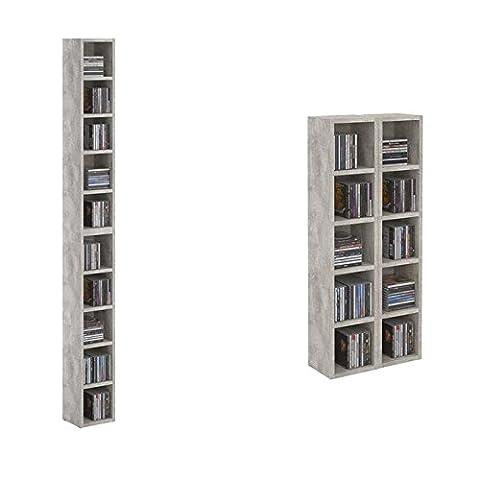 Etagère colonne MUSIQUE modulable empilable CD et DVD panneaux MDF