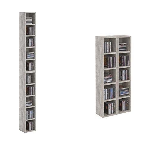 Etagère colonne MUSIQUE modulable empilable CD et DVD panneaux MDF décor béton