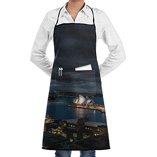 (Sangeigt Cooking Apron,Night View of Sydney City Novelty Water Resistant Polyester Kitchen Apron with Big Pockets Machine Washable Easy Care Twill Sewing Bib Apron for Cooking BBQ Party)