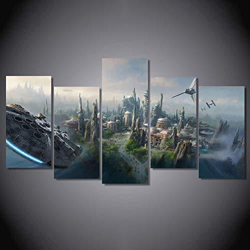 YUHOME Leinwandbilder Bild Wohnkultur Modulare Leinwand Bild 5 Star Wars-Poster Wand für die Wohnzimmerdekoration,B,30x60x4+30x80x1