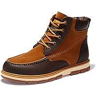 Gfphfm-shoes Calzado de Confort para Hombre Botas cálidas para el Tobillo Botas para la Nieve Botas de Piel Otoño Invierno Botas a Media Pierna Negro Amarillo Azul (Color : UN, tamaño : 45)