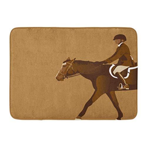 Kanaite Fußmatten Badteppiche Outdoor/Indoor Fußmatte Braun Derby Reiter Pferd Jumper Zügel Sattel Tierstiefel Badezimmer Dekor Teppich Badteppich