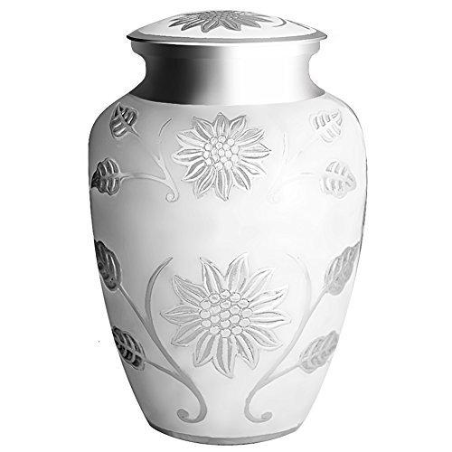 Funeral urna por meilinxu–cremación Urnas para cenizas humanos adulto y de–hecho a mano en latón y grabada a mano–Pantalla funeraria Urns en casa o en nicho en Columbario (Rosedale urna, grande
