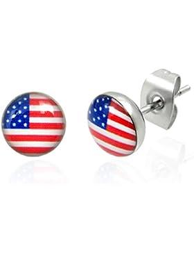 bkwear 2 Stück Ohrstecker OS 40 bk3 US Flagge Ohrringe Edelstahl 7mm USA