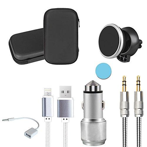 Spadger Dual USB Charger Kit Auto KFZ Ladegerät mit 1 Magnet-Handyhalterung,1 2-Port USB Kfz Ladegerät Power,1 AUX Kabel,1 Ladekabel für Android und iPhone und 1 USB 2.0 Konverter Kabel (Android Usb-aux-kabel Für)