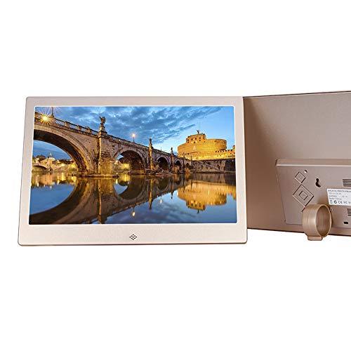 MTCTK Auflösung 1280 * 800 Metallalbum Elektronischer digitaler Fotorahmen Multifunktionsalbum Bildbroschüre 12 Zoll,Gold Jpeg-analog