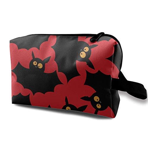 Halloween Fledermäuse Reisen Make-up Kosmetiktasche Make-up Reisetasche Geldbörse für Frauen oder Mädchen (Mot Le Halloween)