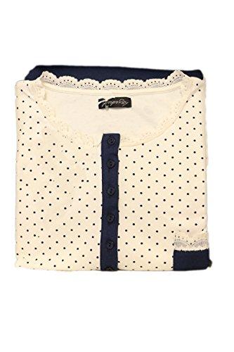 Giorgio Rey - Pigiama 08-155 per donna, 100% cotone interlock caldo cotone, manica lunga Blu