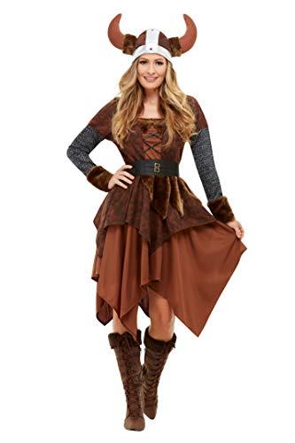 Smiffys 50742S Wikinger Barbarian Queen Kostüm, Damen, Braun, S - Größe 08-10
