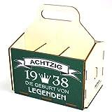 Bierträger aus Holz - Geburtstag - Sixpack - 6er Träger - Geschenke für Männer - Grillen - Vatertag (80 Jahre)