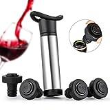 Sunix Vacu Vin Pompa,VinoCare Pompa Salvavino, Dispositivo per la conservazione del Vino in Acciaio Inox con 4 Tappi a Vuoto per Bottiglie di Vino - Acciaio Inossidabile