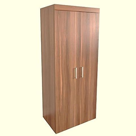 2 Door Wardrobe Walnut Effect Finish Bedroom Furniture