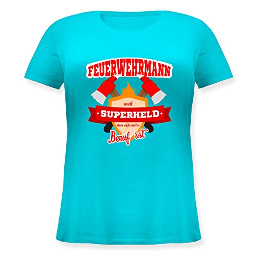 Feuerwehr - Feuerwehrmann - weil Superheld kein offizieller Beruf ist - L (48) - Türkis - JHK601 - Lockeres Damen-Shirt in großen Größen mit Rundhalsausschnitt (Plus Size Superhelden Shirts)
