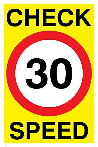 Preisvergleich Produktbild Viking Schilder pr548-a4p-v Check 30 Speed-Zeichen,  Vinyl,  300 mm H x 200 mm W