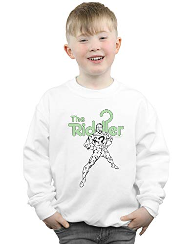 Absolute Cult DC Comics Jungen The Riddler Mono Action Pose Sweatshirt Weiß 3-4 Years